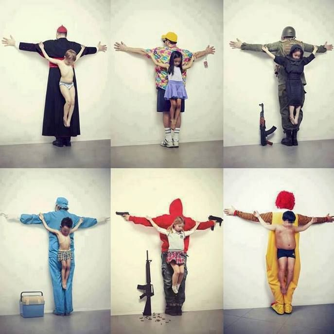 political art! Love this piece.  The first one, pedophiles in the catholic church, child prostitution in Thailand, child army recruitment in Syria, child organ trafficking, free guns in USA and child obesity.