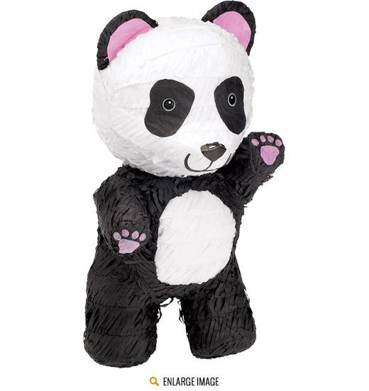 Black and white Traditional Panda Pinata measures 8 x 9.5 x 17 inches