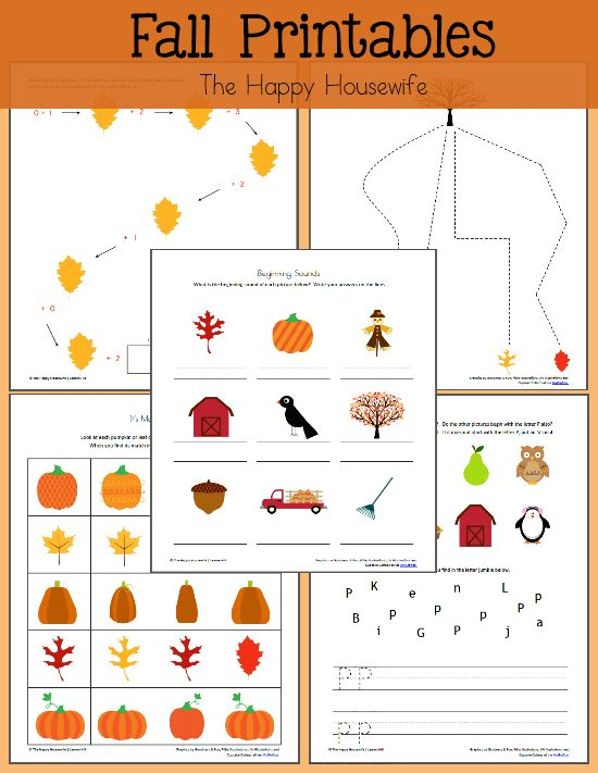 Fall Themed Worksheets:  Free Printables