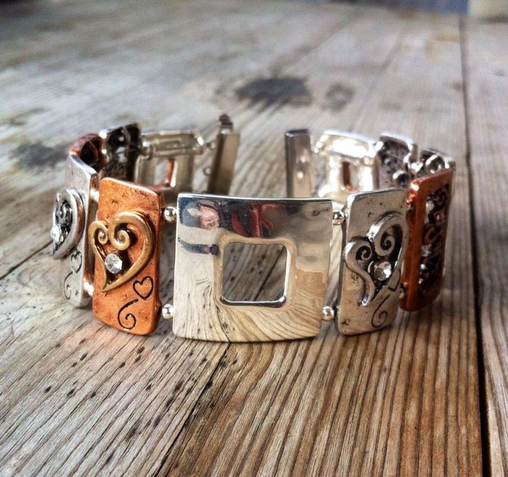 Mixed metal bracelet. Silver and copper