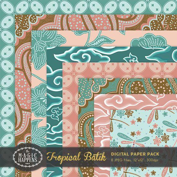 Tropical Batik Digital Paper Flower Batik Pattern Background