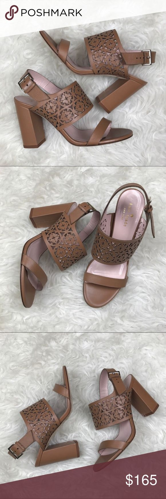 """Kate Spade Imani heels Kate Spade Imani heels. 3 1/2"""" heel. Beautiful laser cut floral thick straps.  Adjustable ankle straps. Last pic shows slight scuff on heel kate spade Shoes"""