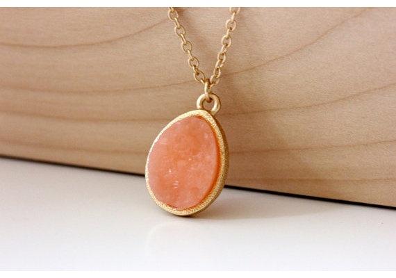 Linda Moore! druzy coral pendant