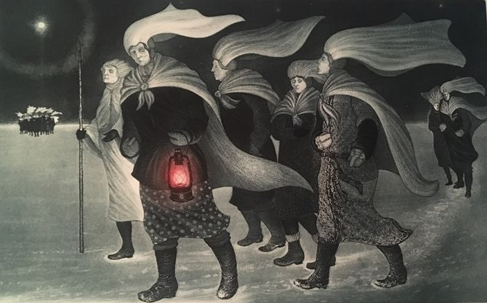 David Blackwood etching, Pound Cove Mummers Crossing Coal Harbour Pond, 1985, 20 X 32 inches, Edition of 50.