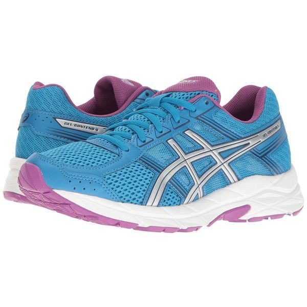 ASICS GEL-Contend 4 (Diva Blue/Silver/Orchid) Women's Running Shoes (€65) ❤ liked on Polyvore featuring shoes, athletic shoes, blue running shoes, running shoes, wide width shoes, breathable running shoes and asics athletic shoes