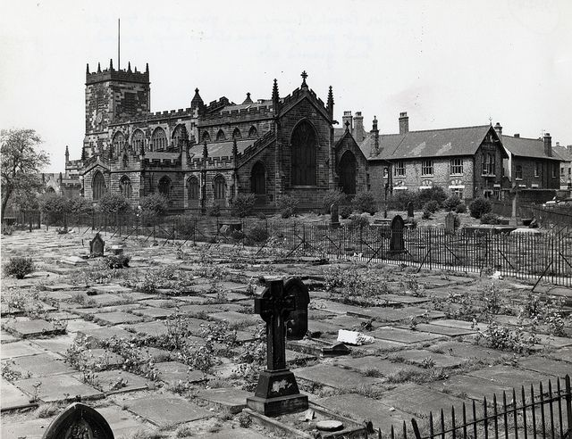 Eccles Parish Church on an April day, Eccles, Manchester, England, United Kingdom, 1965, photographer unknown.  From Chetham's Library's Mullineux Collection.