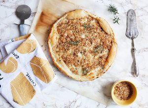 Pangrattato breadcrumb pizza with taleggio cheese | freckleandfair.com