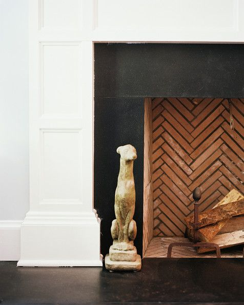 I like the clean lines of the fireplace combined with classic black and gorgeous chevron brick! #fireplace #home #wood