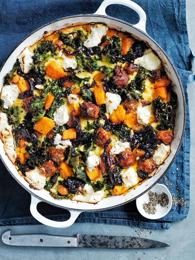 pumpkin, chorizo and kale frittata