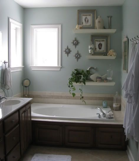 A few wall shelves & this bathroom was reinvented! Great