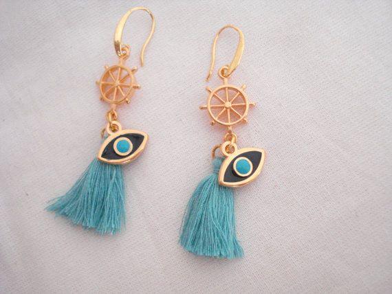 Gold wheel evil eye earrings Evil eye mint tassel by Poppyg