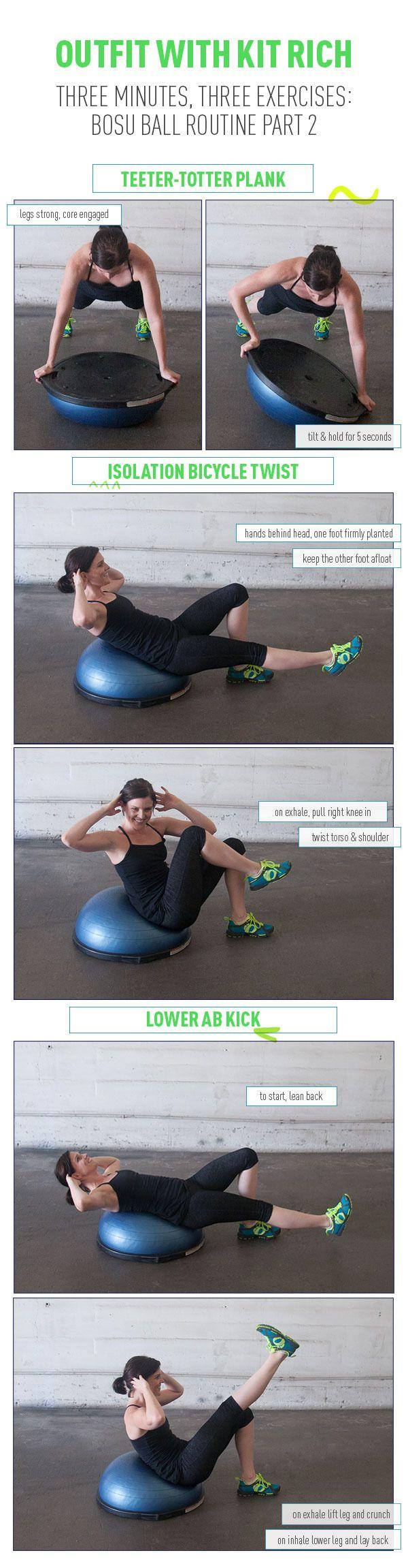 www.facebook.com/myactivelifestyle Three Minutes, Three Exercises: Bosu Ball Routine Part 2