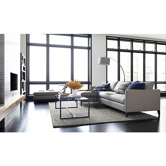 dexter arc floor lamp with grey shade | dexter, crates and barrels