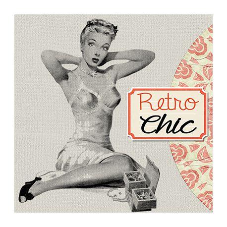 Obraz vintage na płótnie - Retro Chic - dostępny w rozmiarach 30x30, 40x40, 45x45, 50x50, 55x55, 60x60 i 70x70 cm #fedkolor #obraz #wydruk #na #płótnie #retro #vintage #dziewczyna #kobieta #pinup #czarnobiałe #blackwhite #ozdoba #klasyka #obraznapłótnie #wydruknapłótnie #obrazzezdjęcia #naścianę #naścienne