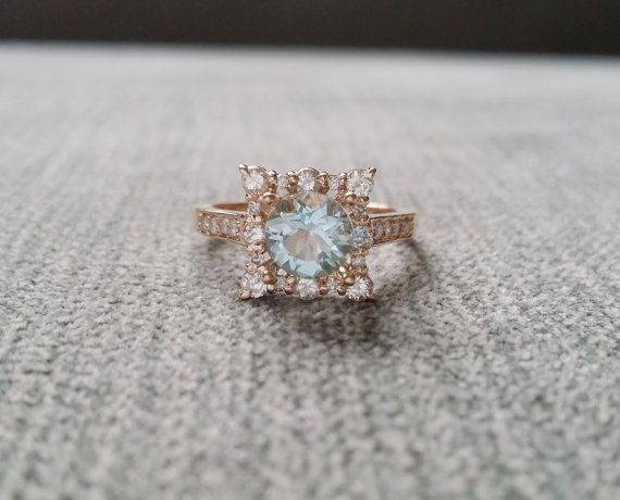 "Aquamarine Diamond Engagement Ring Halo Square Vintage Antique Blush Blue Aqua Peach 14K Rose Gold Exclusive ""The Penelope"""
