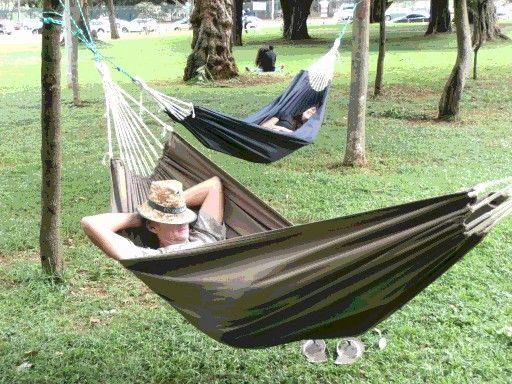 www.dreamtimehammocks.co.za Safari or Camping sleeping hammock - perfect for a quick snooze. Machine Washable.