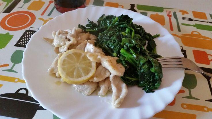 Pollo al limone e spinaci