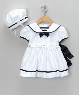 nauticalSailors Dresses, White Bows, Infants Girls, Head Of Garlic, Bows Dresses, Sailors Outfit, New York, Zulily Today, Infant Girls