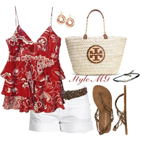 Summer style: Summer Fashion, Summer Casual, Summer Ruffles, Fashion Style Beautiful, Summer Style, Tory Burch, Red Summer, Summer Outfits, Ruffles Shirts