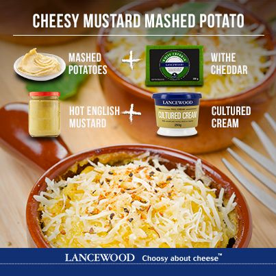 Try this cheesy mustard mashed potato DISH with your meal.
