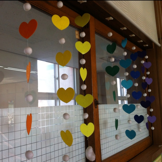 Decorate classroom windows. Could write prayers on the hearts, or things we're thankful for!