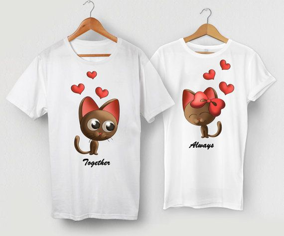 Matching Shirts for Couples, Kitties Shirts, Cats in Love, Husband and Wife Matching T Shirt, His and Hers T-Shirts, Couple Shirts 098
