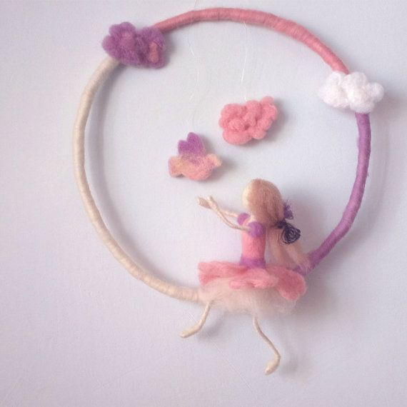 Felt Girls Mobile Waldorf inspired needle felted by CozyMilArt