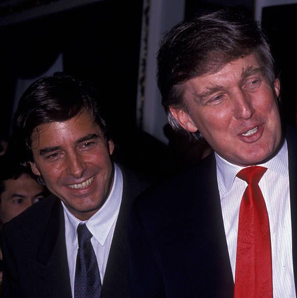John Casablancas and Donald Trump attend 'Look of the Year' Elite Models Party on May 1 1991 at the Plaza Hotel in New York City