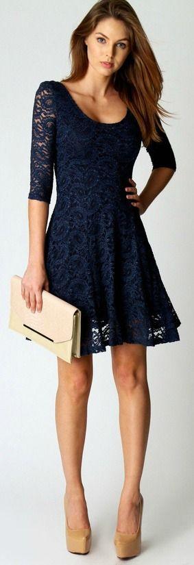 elegant lace dress dark blue