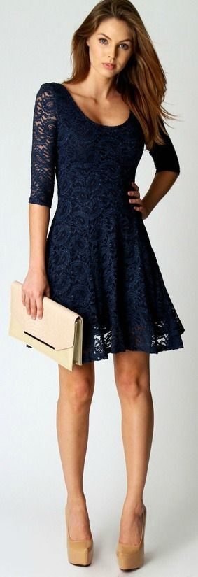 Navy Lace + Neutral accents.