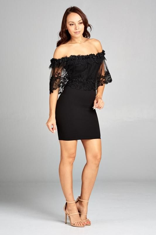Off The Shoulder Lace Overlay Body-con Dress