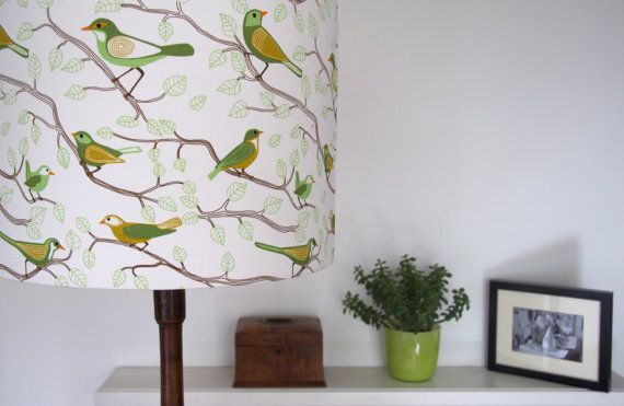 handmade fabric lampshade for standard lamp scandinavian birds