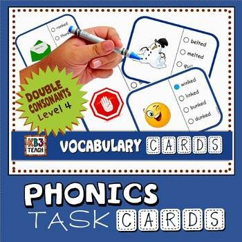 """Vocabulary Task Cards: Learn basic comprehension and """"process of elimination"""" strategies while practicing decoding skills (double consonant blends). PHONICS/ELA SKILLS: short vowel sounds, initial consonant blends, ending consonant blends, digraphs, past tense verbs. Designed to systematically teach the different sounds of regular past tense verb endings: where -ed sounds like """"d"""" (drilled, jogged); where -ed sounds like """"-ed"""" (blended, planted); where -ed sounds like """"t"""" (jumped, clapped)."""
