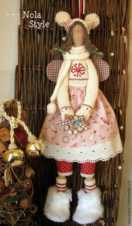 Купить АнИкА - разноцветный, Новый Год, ангел тильда, тильда ангел, кукла ручной работы ♡