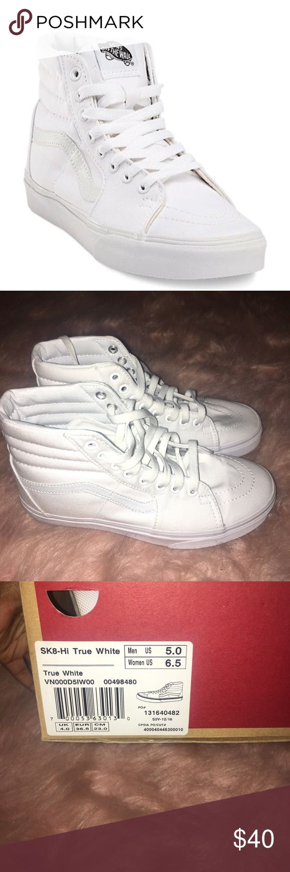 All white vans **Only worn once** Sk8-Hi True white vans Vans Shoes Sneakers