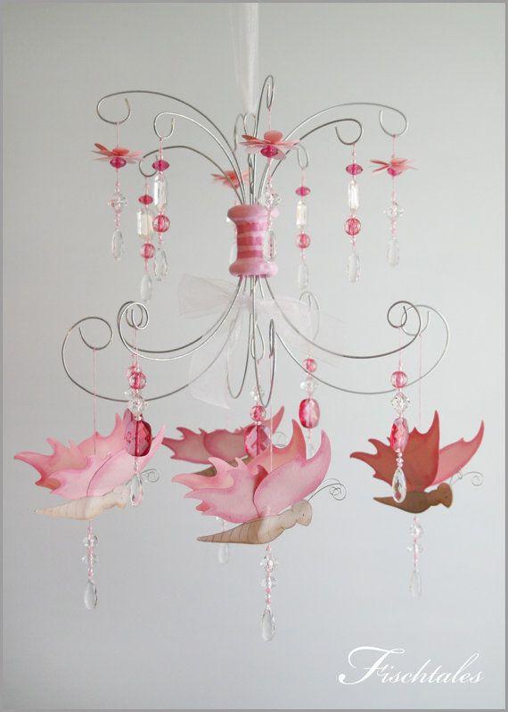 Pink Butterfly Chandelier Baby Mobile Nursery by fischtaledesigns, $155.00