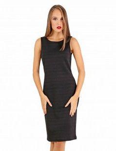 Zip back texture bodycon dress - Black