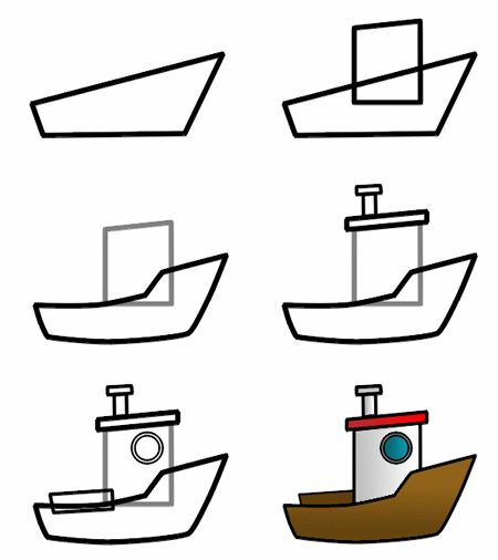 How to draw a cartoon boat step 3 http://www.how-to-draw-funny-cartoons.com/cartoon-boat.html