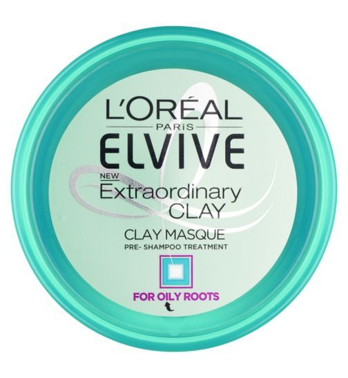 LOreal Paris Elvive Extraordinary Clay Masque Pre Shampoo Treatment 150ml - moisturising but great for oily roots and to help prolong washing hair