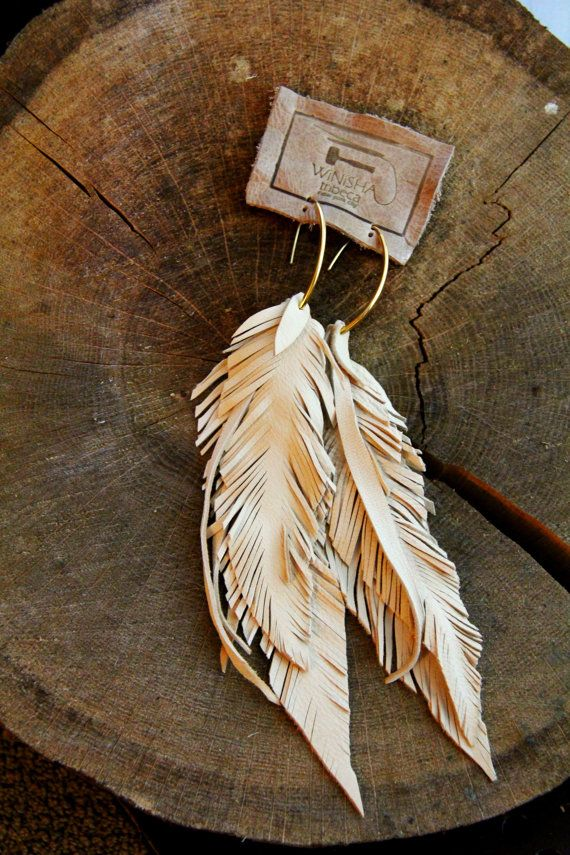 Leather Feather Long Bone Earrings, Lambskin and fringe with custom ear wires