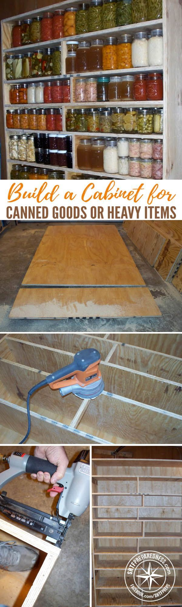 How To Build A Cabinet For Storing Canned Goods or Heavy Items — This tutorial has pictures to help you build your own and does a great job of explaining exactly how to make this awesome cabinet.