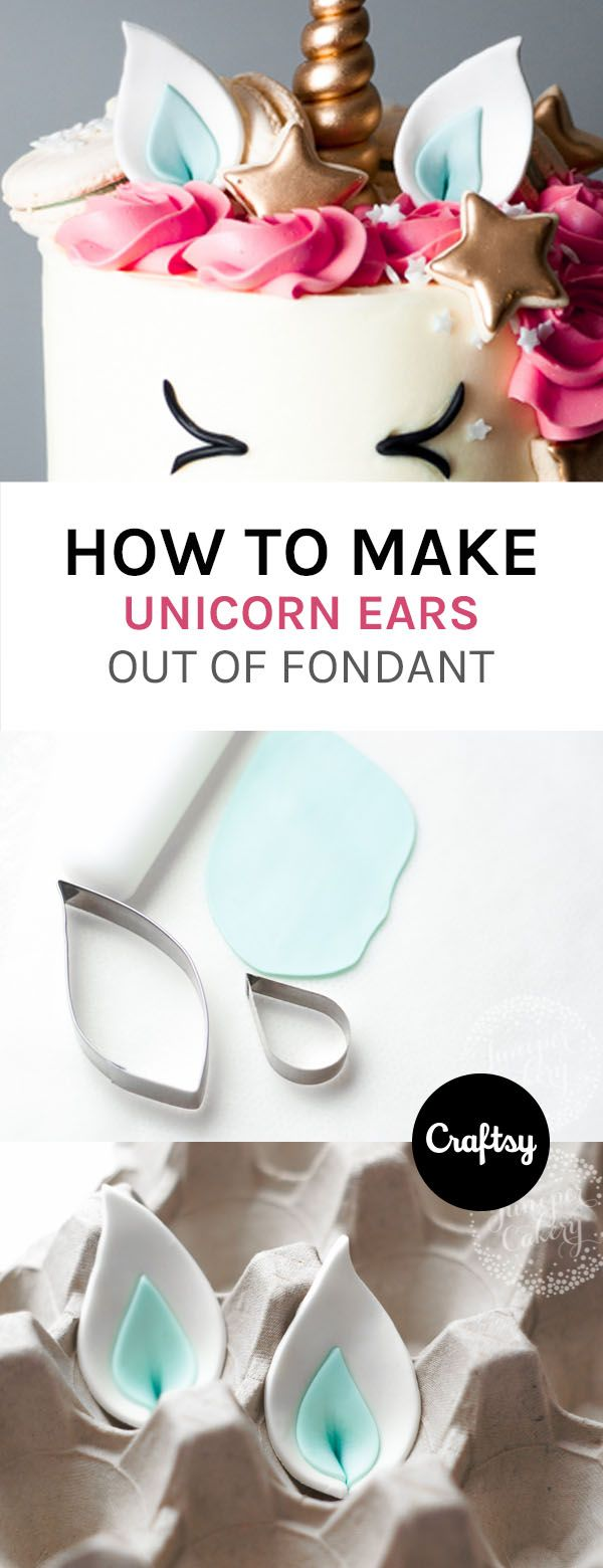 The latest cake decorating trend? These beyond-adorable unicorn cakes! Learn the tips and trips behind how to make your own unicorn ears out of fondant. https://www.craftsy.com/blog/2016/12/unicorn-cake/?cr_linkid=Pinterest_Cake_OP_BLOG_BlogRefer_ears