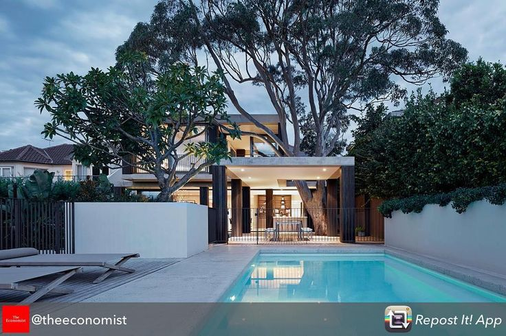 "Repost from @theeconomist using @RepostRegramApp - From @1843mag. Giving a new meaning to #treehouse: located in the suburb of #Vaucluse, #Sydney, this house, designed by @b.e_architecture, is built around a gum tree, the canopy of which provides a second roof. Search ""Home is where the bark is"" on 1843magazine.com for more on the green #architecture trend."