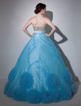 Vestido de quinceañera de organza sin tirantes con escote de corazón-No.4