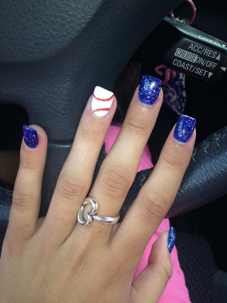 My baseball nails(: go rangers!