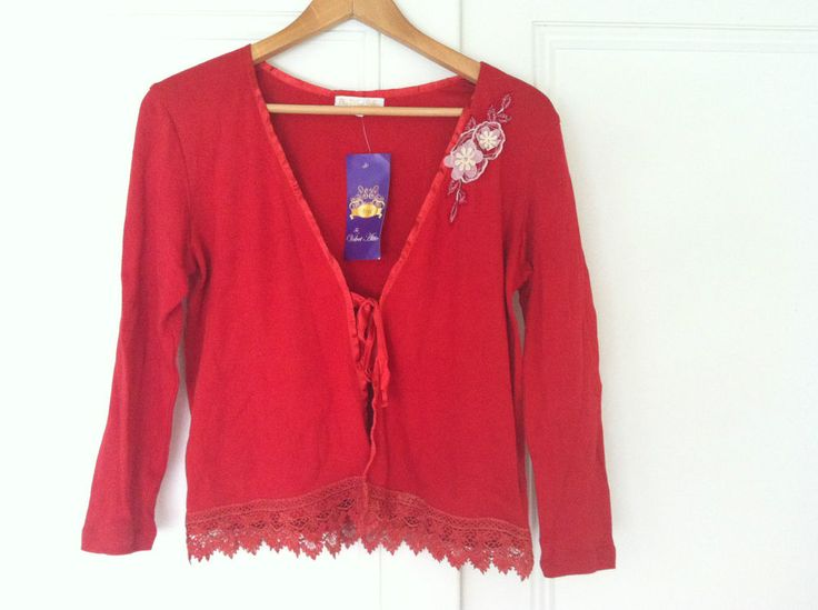 Gorgeous Red Cotton Knit Lace Trim Cardigan 78% off -72HR CLICK FRENZY SPECIAL!