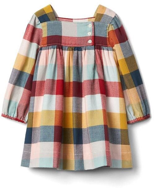 Little girls plaid flannel dress. Affiliate ad.