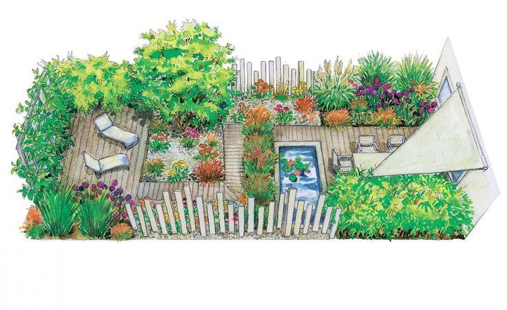 drei ideen f r einen reihenhausgarten pflanzen pinterest holzdeck kleine g rten und. Black Bedroom Furniture Sets. Home Design Ideas