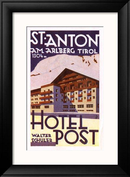 Label, Hotel Post, St Anton Am Arlberg, Tyrol, Austria Giclee Print - AllPosters.co.uk