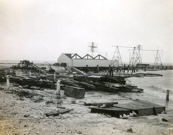 Hurricane damage at the Key West Naval Station beach.